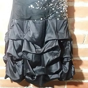 Ruby Rox Dresses - Strapless Black Dress with Ruffle Bottom